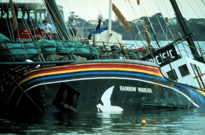 Rainbow Warrior in Auckland Harbour after bombing by French secret service agents.